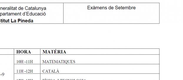 Calendari Exàmens Setembre 2013