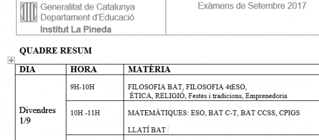 Exàmens de Setembre 2017