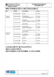 EXÀMENS RECUPERACIÓ 1r BAT Setembre 2020