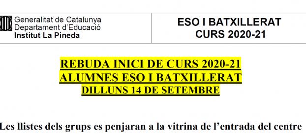 CALENDARIS D'INICI DE CURS