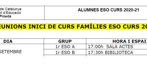 REUNIONS INICI DE CURS FAMÍLIES ESO CURS 2020-21