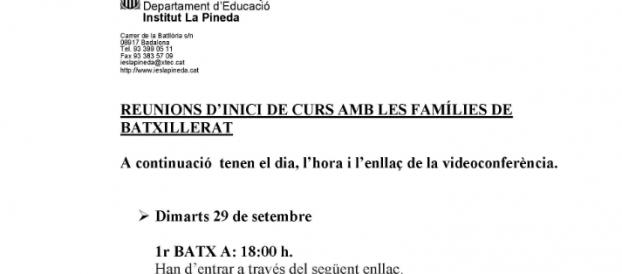 REUNIONS D'INICI DE CURS AMB LES FAMÍLIES DE BATXILLERAT