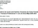 REUNIONS D'INICI DE CURS AMB LES FAMÍLIES DE 1R DE GRAU MITJÀ.