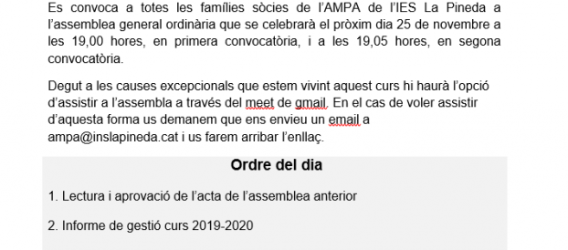 AMPA: CONVOCATÒRIA D'ASSEMBLEA GENERAL ORDINÀRIA ANUAL